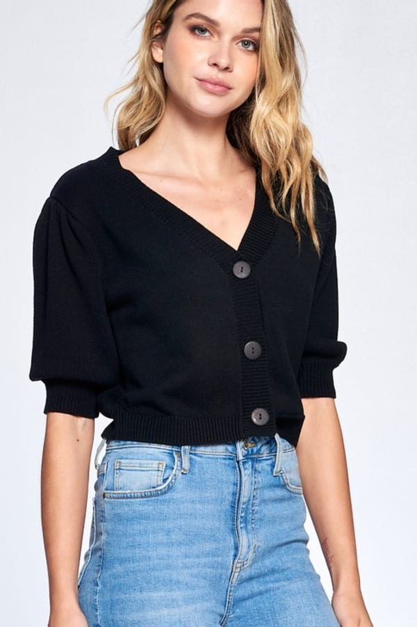Button Front Short Sleeve Sweater