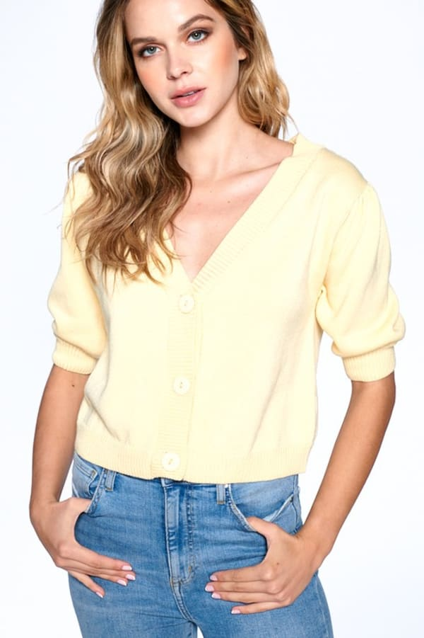 Button Front Short Sleeve Sweater -Lemon - Front