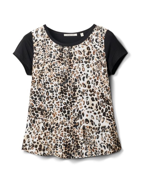 Leopard Mix Media Knit Top - Black - Front
