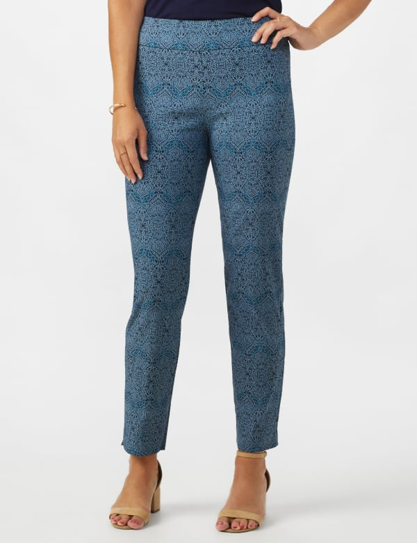 Roz & Ali Printed Superstretch Pull On Ankle Pants With Slits - Blue Combo - Front