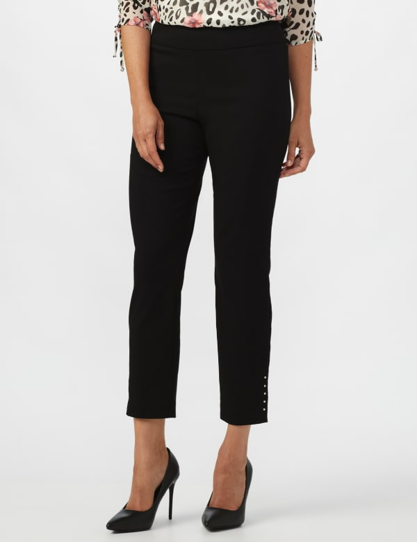 Roz & Ali Solid Superstretch Tummy Panel Pull On Ankle Pants With Rivet Trim Bottom - Black - Front