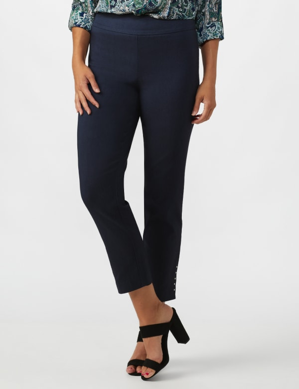 Roz & Ali Solid Superstretch Tummy Panel Pull On Ankle Pants With Rivet Trim Bottom -Dark Denim - Front