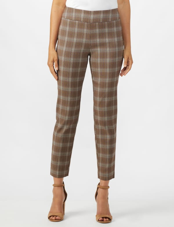 Roz & Ali Yarn Dye Plaid Pull On Waist Ankle Pant -Taupe - Front