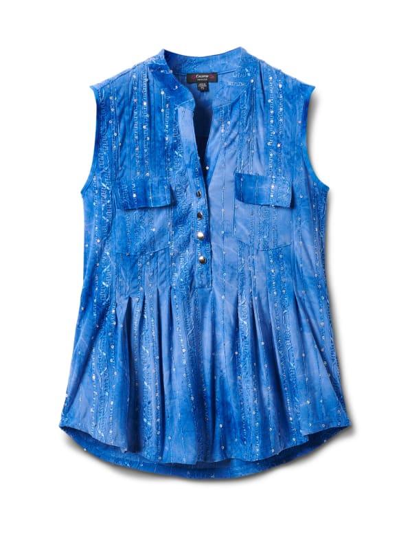 Jacquard Tie Dye Knit Popover-Petite - Dignity Blue - Front