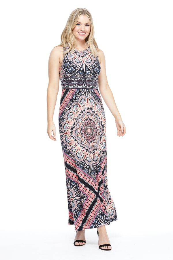 Large Medallion Print Maxi Dress - Navy/Coral - Front