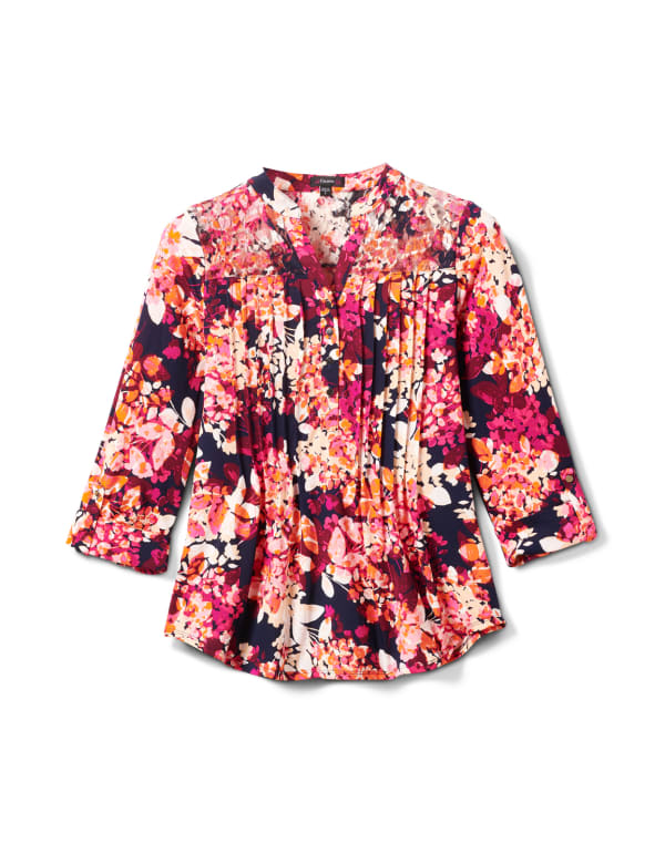 Multi Color Floral Knit Popover - Navy/Pink - Front