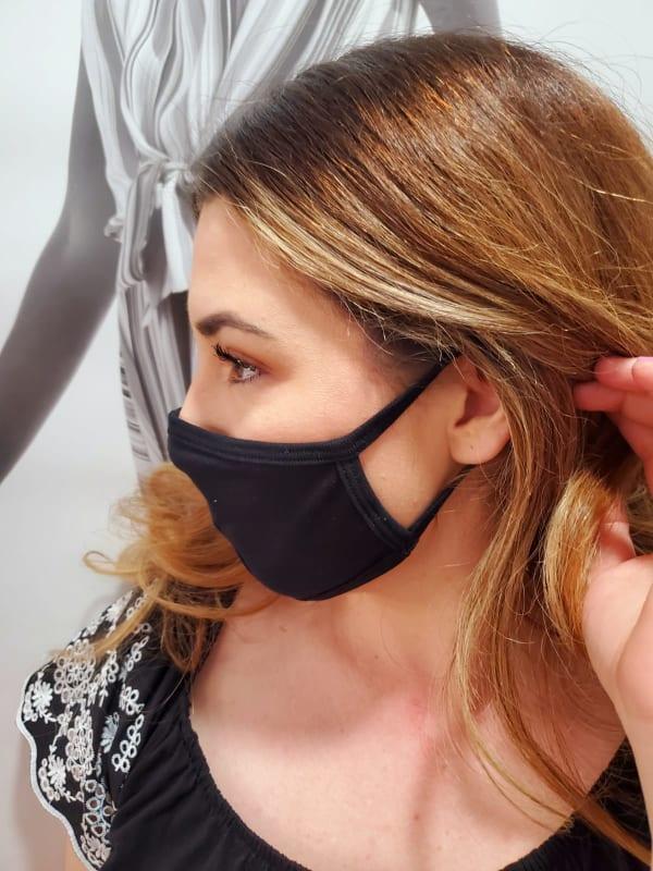 Men/ Women /Children Contoured Washable Cotton Face Masks - Black - Front