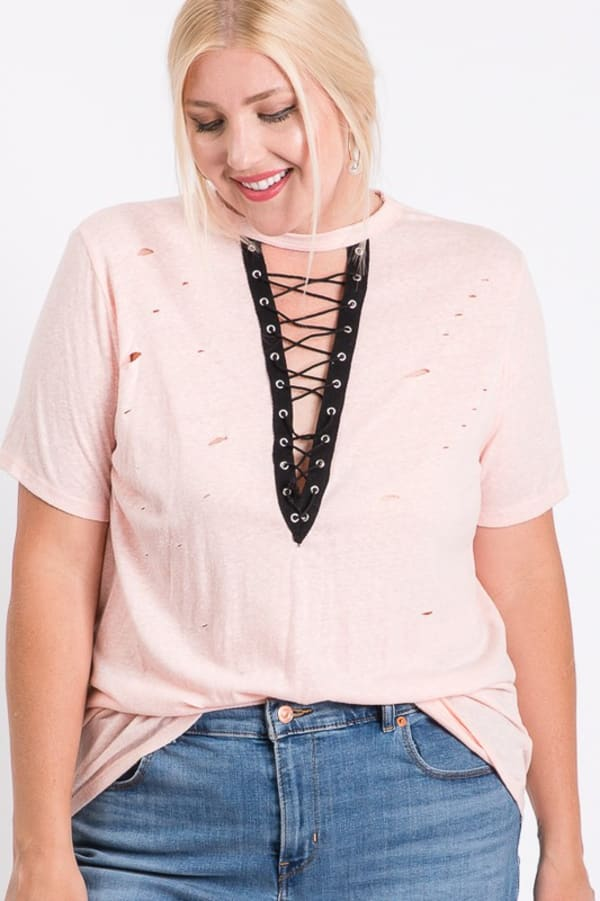 Casual Shirt With a Twist - Pink - Front