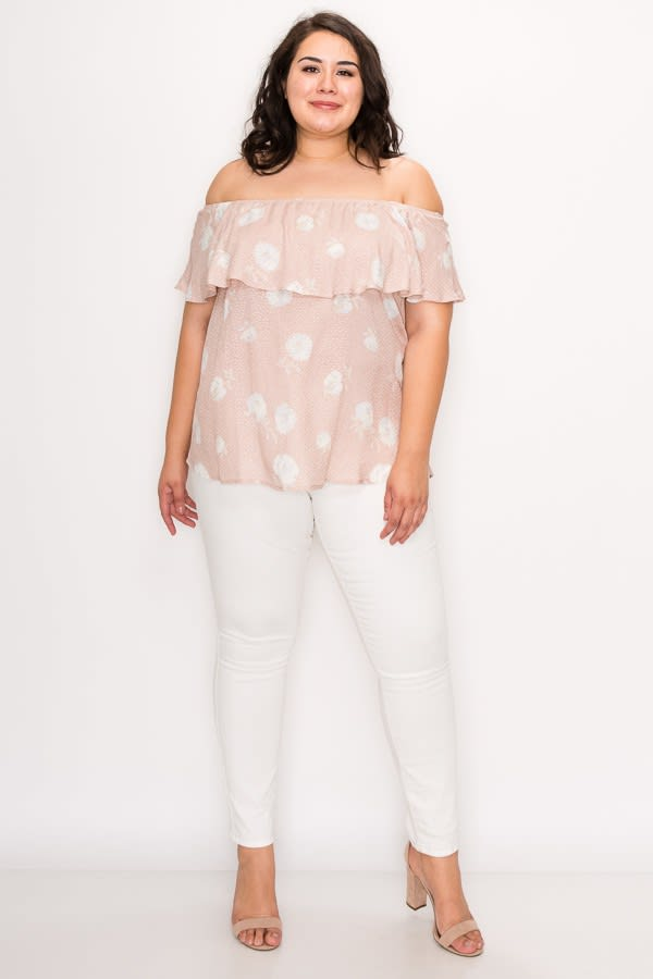 Sexy Off-Shoulder Top -Dusty Pink - Front