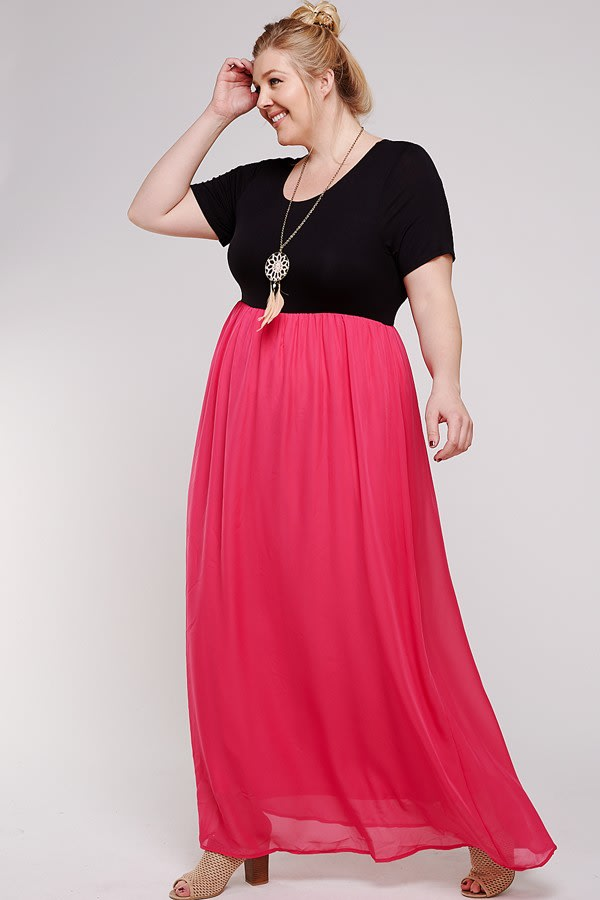Maxi Dress With Short Sleeve - Plus - Black / Watermelon - Front