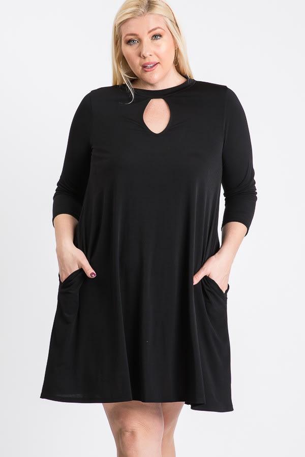 3/4 Sleeve Dress With Side Pockets - Plus