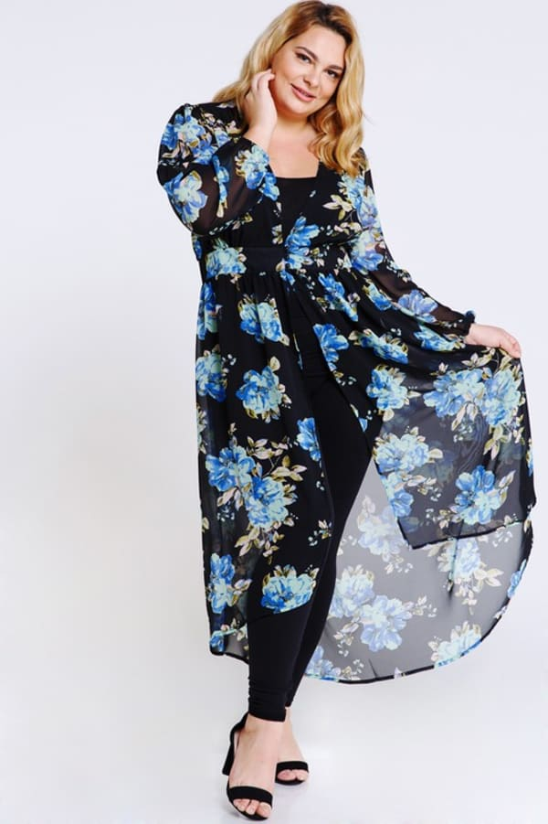 Steal the Looks Floral Dress - Black - Front