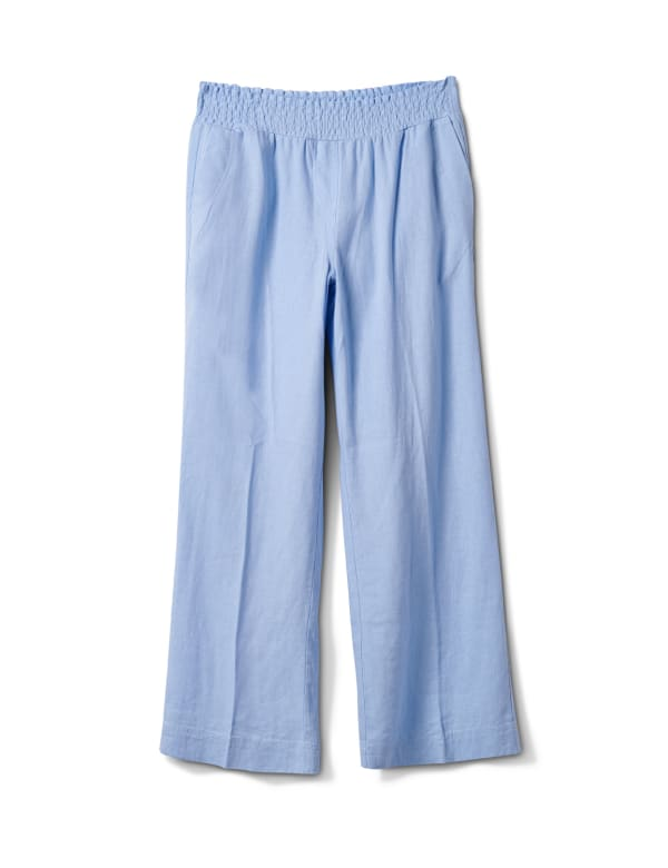 Smocked Waist Pull On Pant With Pockets -Chambray - Front