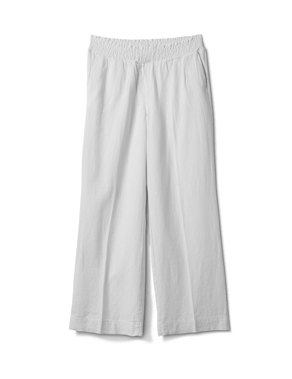 Smocked Waist Pull On Pant With Pockets - White - Front