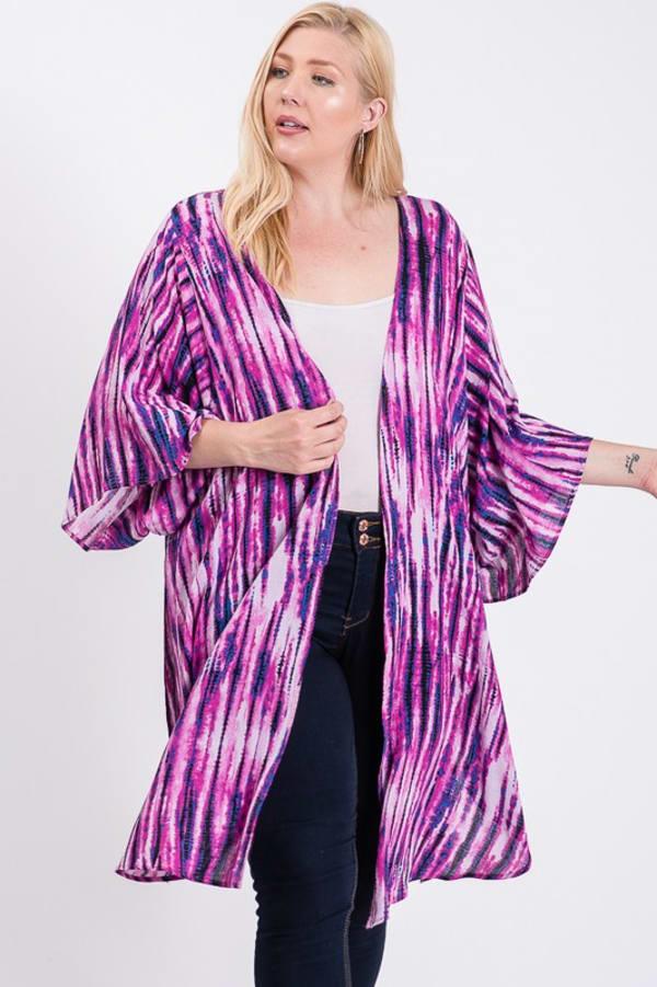 Ready to Roll Long Kimono - Fuchsia - Front