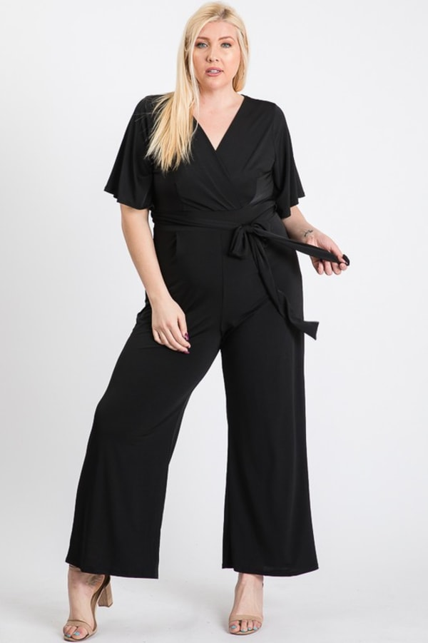 V-Neckline Short Sleeve Jumpsuit - Plus