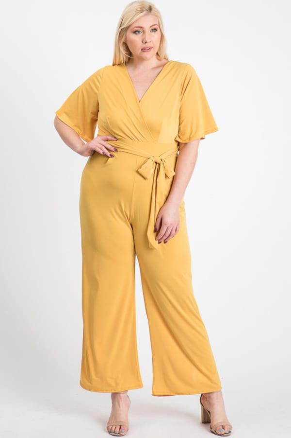 V-Neckline Short Sleeve Jumpsuit - Plus - Yellow - Front