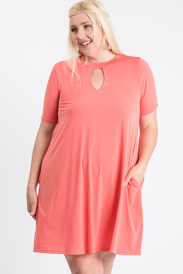 Short Summery Dress - Coral - Front