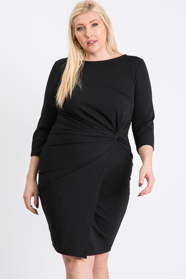 Short Dress With A Front Twist -Black - Front