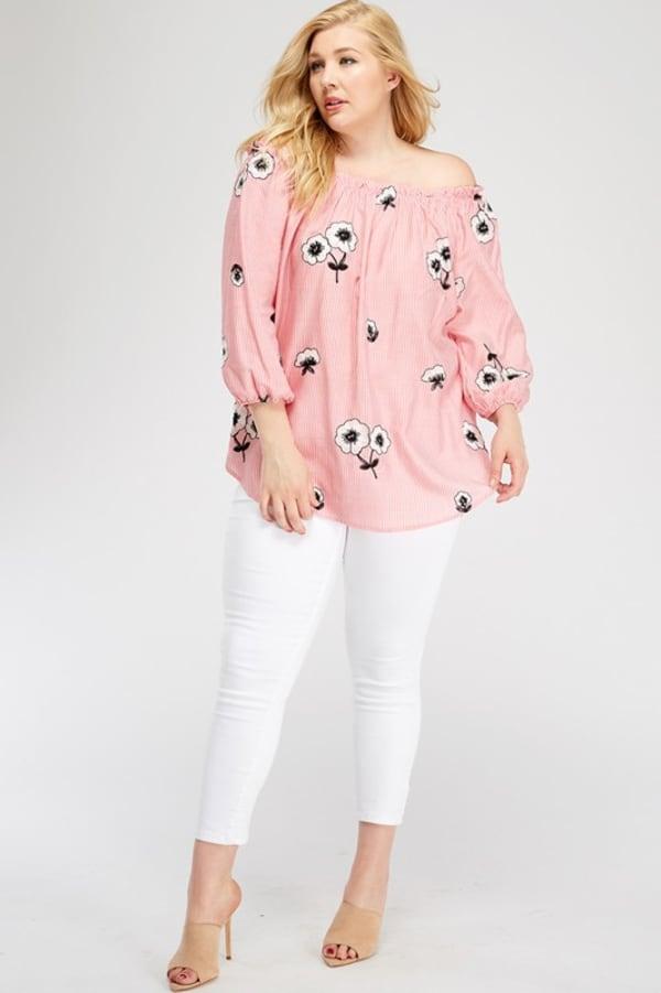 Flowery Off-Shoulder Pink Top - Pink - Front