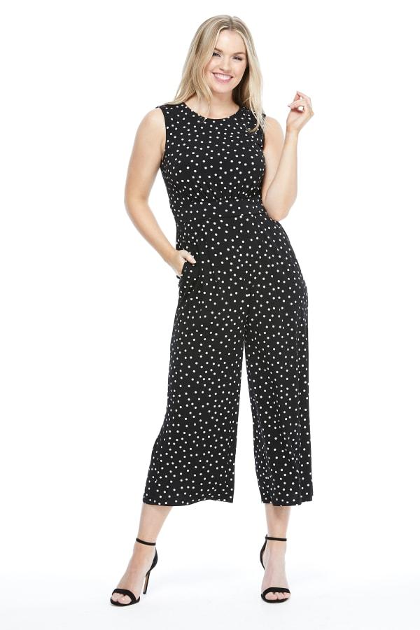 Annabelle Polka Dot Jumpsuit - Black/White - Front