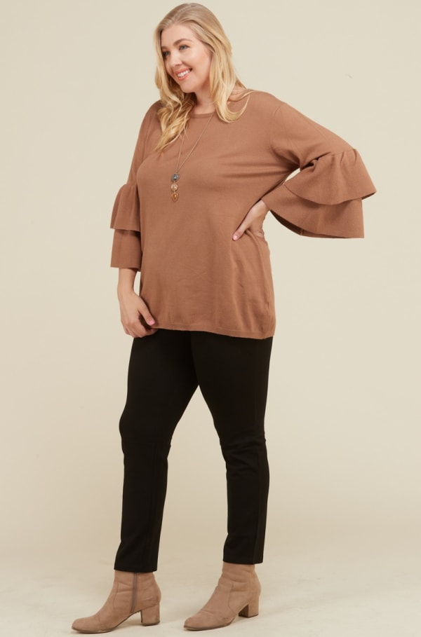 Not Your Ordinary Ruffle Top - Camel - Front