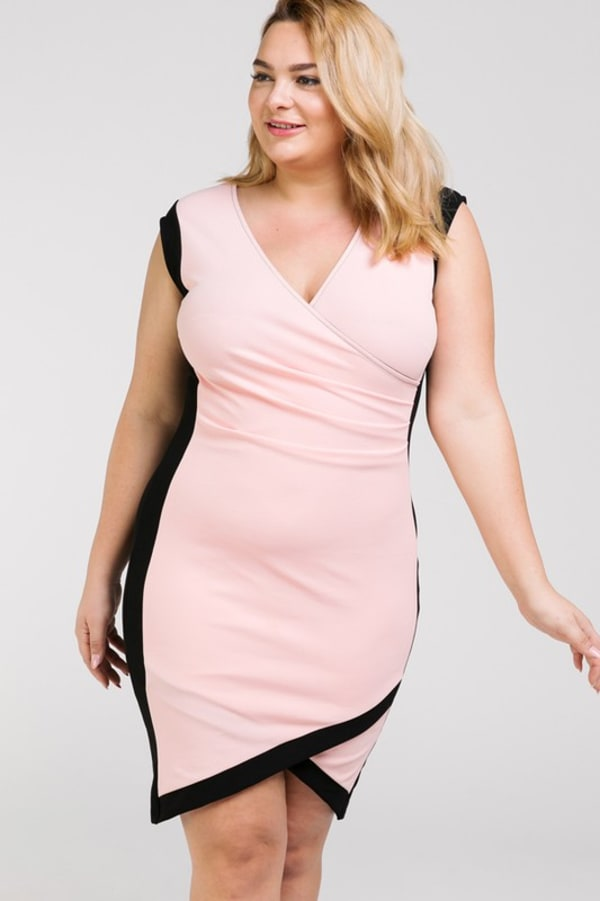 Show Don't Tell Wrap BodyCon Dress - Pink / Black - Front