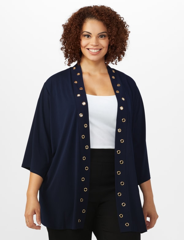 Roz & Ali Novelty Sleeve Grommet Cardigan - Navy - Front