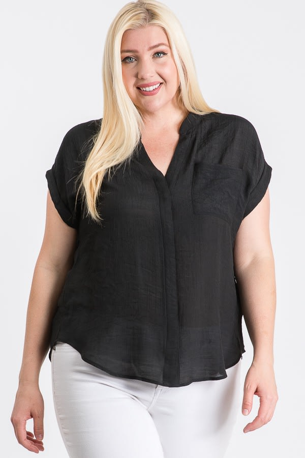 Breezy V-Neck Top - Black - Front