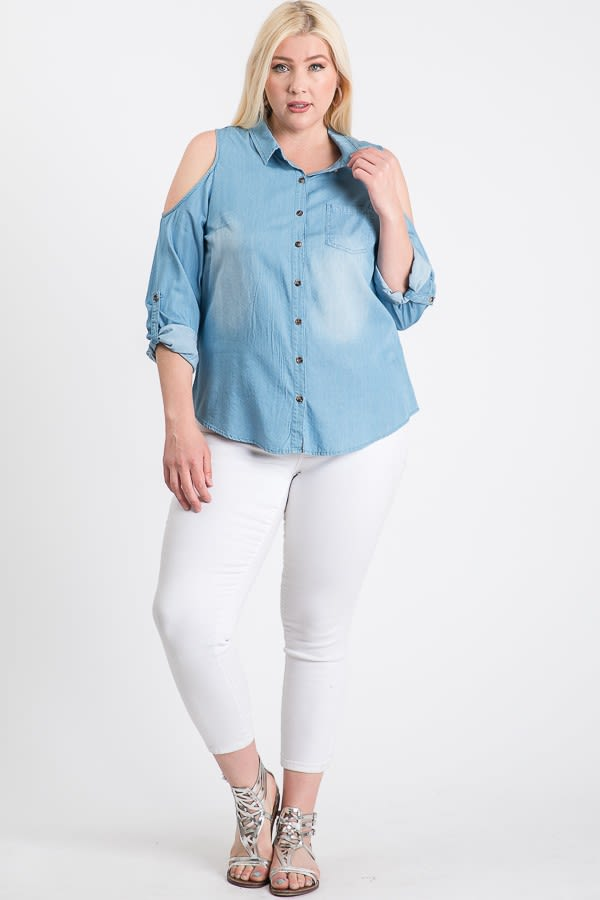 The Not So Basic Denim Cold-Shoulder Shirt - Denim - Front