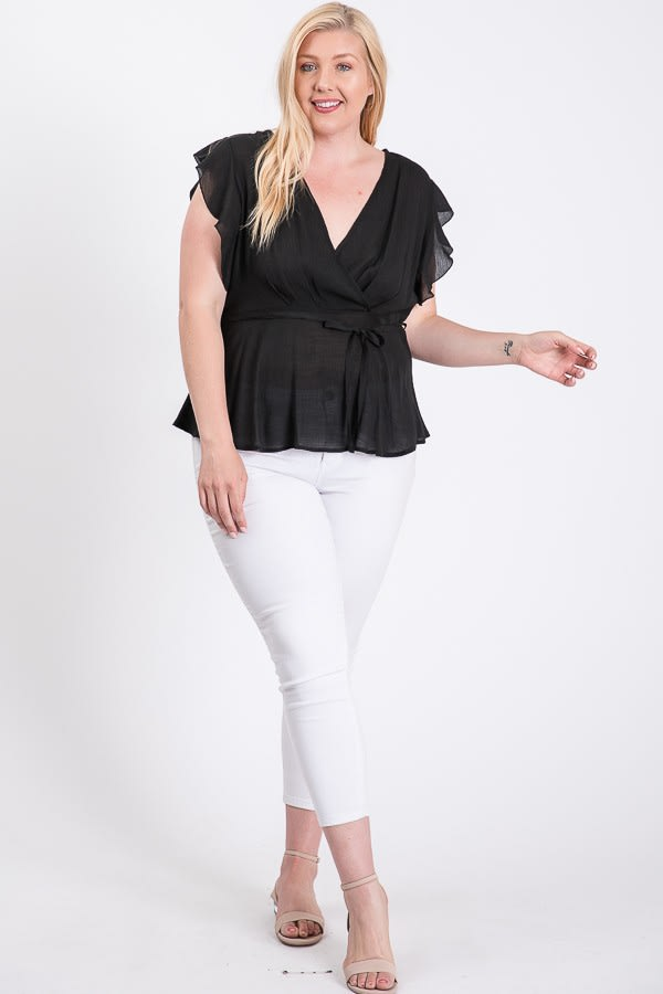 The Not So Classic Buttoned Top -Black - Front