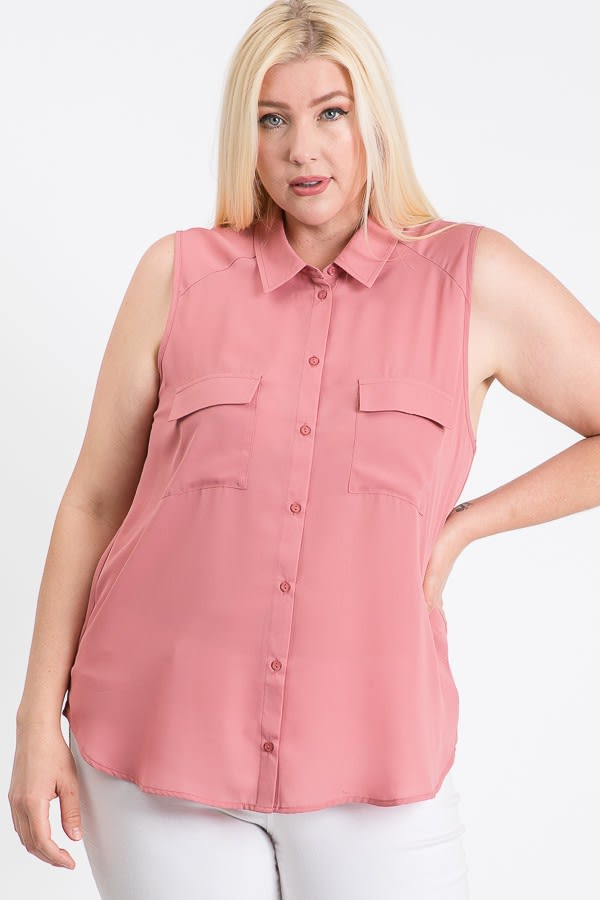 The Not So Classic Buttoned Top -Mauve - Front