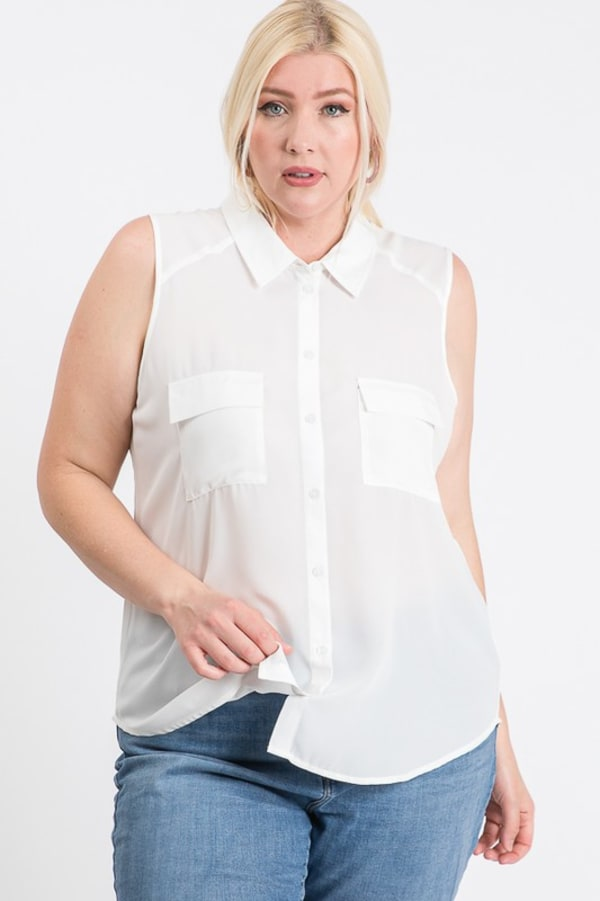 The Not So Classic Buttoned Top -White - Front