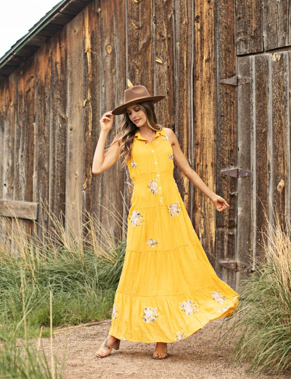 Embroidered Tiered Maxi Dress - Yellow - Front