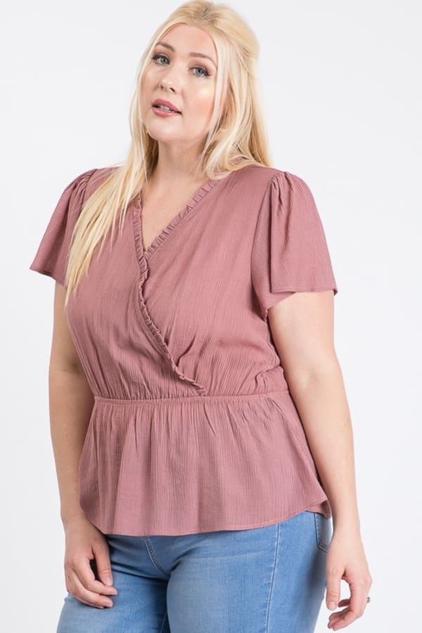 Stylish Over-Wrap Top - Mauve - Front