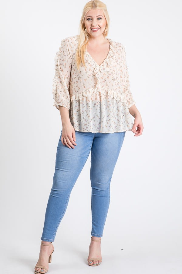 Throw On & Go Floral Top - Off White - Front