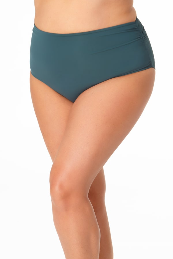 Anne Cole® Live in Color Hi Waist Shirred Swimsuit Bottom - Eucalyptus - Front