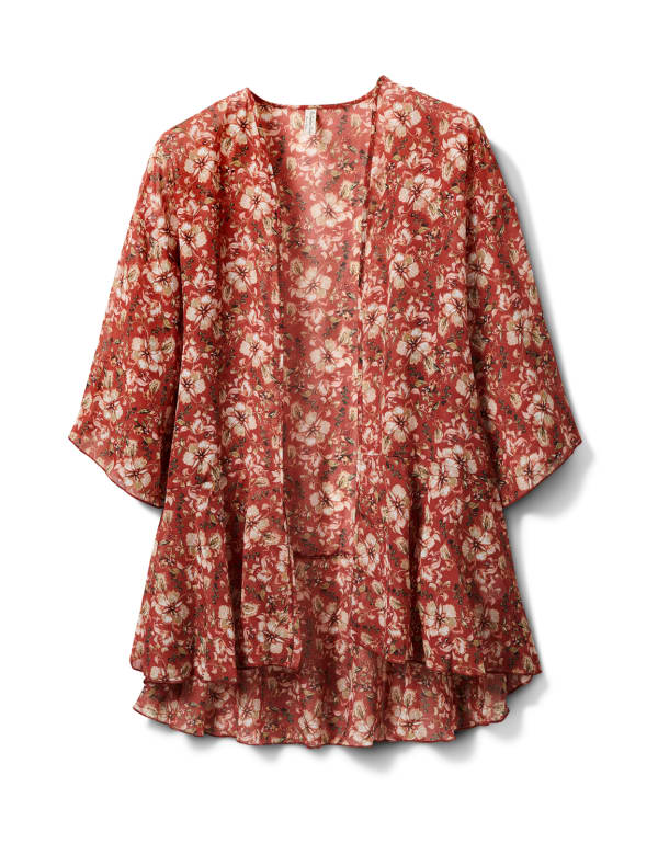 Floral Chiffon Flounce Hem Woven Kimono - Brick - Front