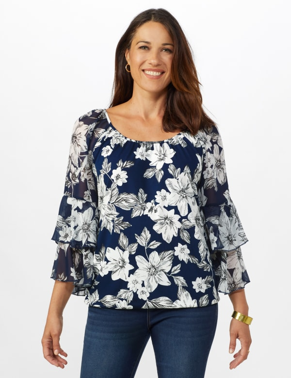 Novelty Sleeve Floral Print Knit Top - Navy/Ivory/Gray - Front
