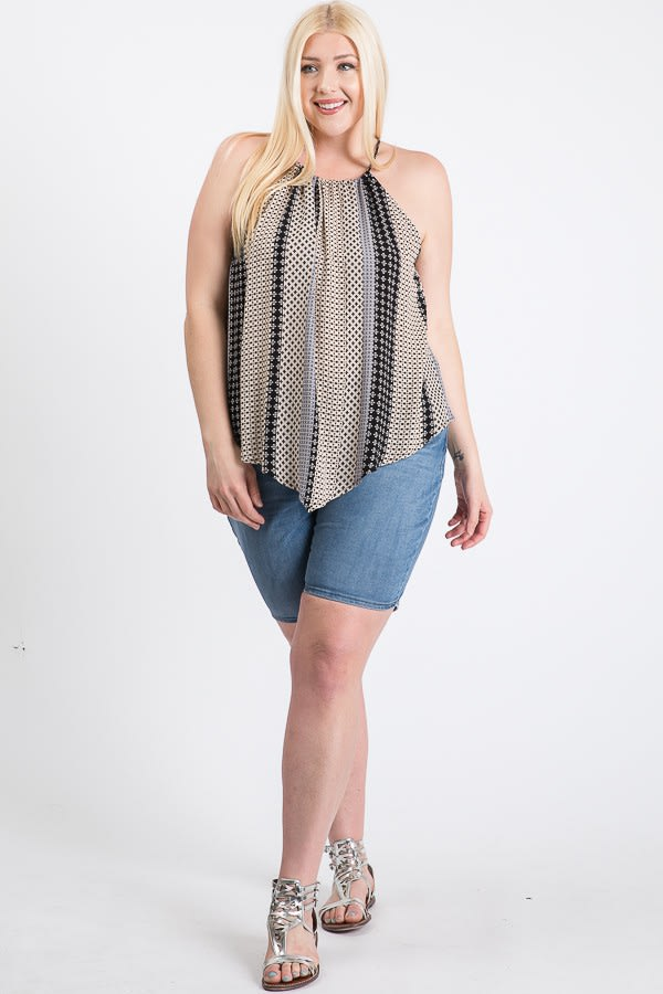 Summer-Loving Sleeveless Top - Black Multi - Front