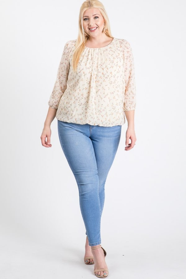Floral Long Sleeve Top - Ivory - Front