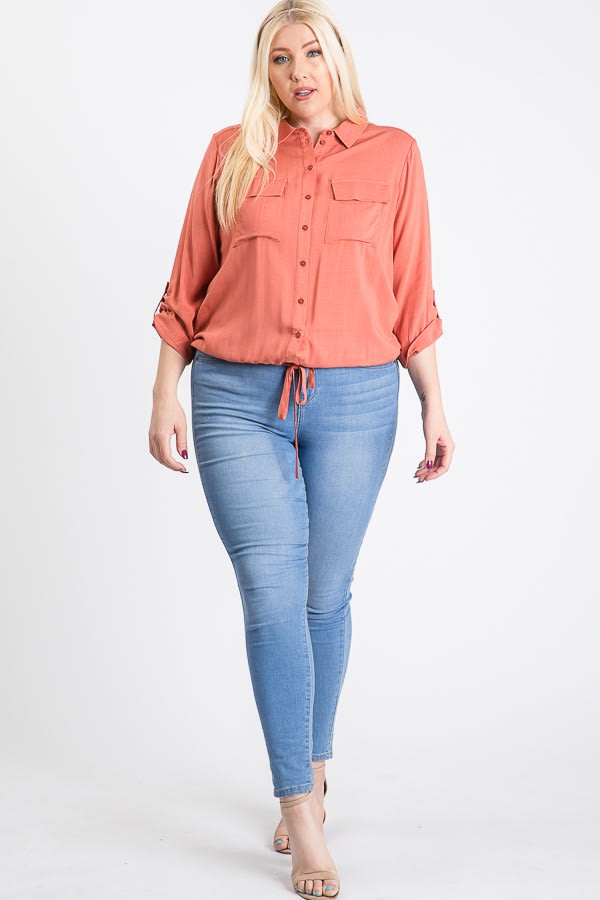The Practical Pocket Shirt -Terracotta - Front
