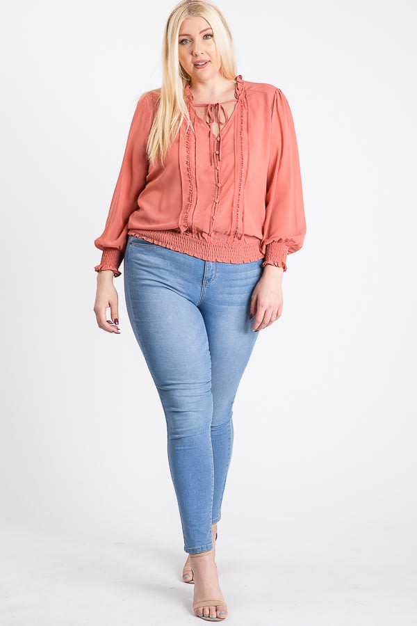 Cutie Smocking Top - Coral - Front