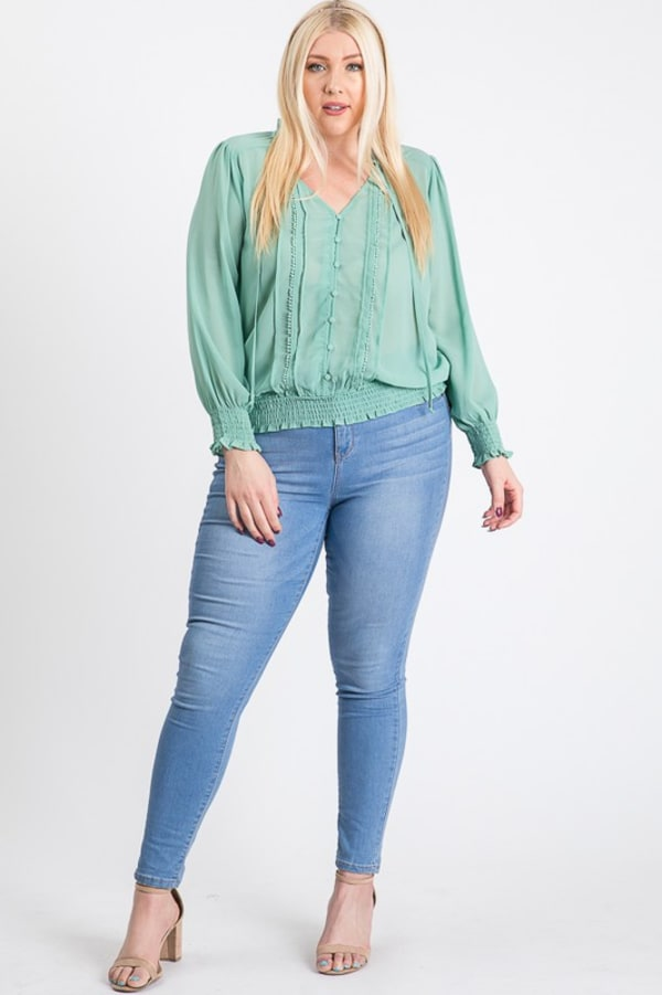 Cutie Smocking Top - Teal - Front