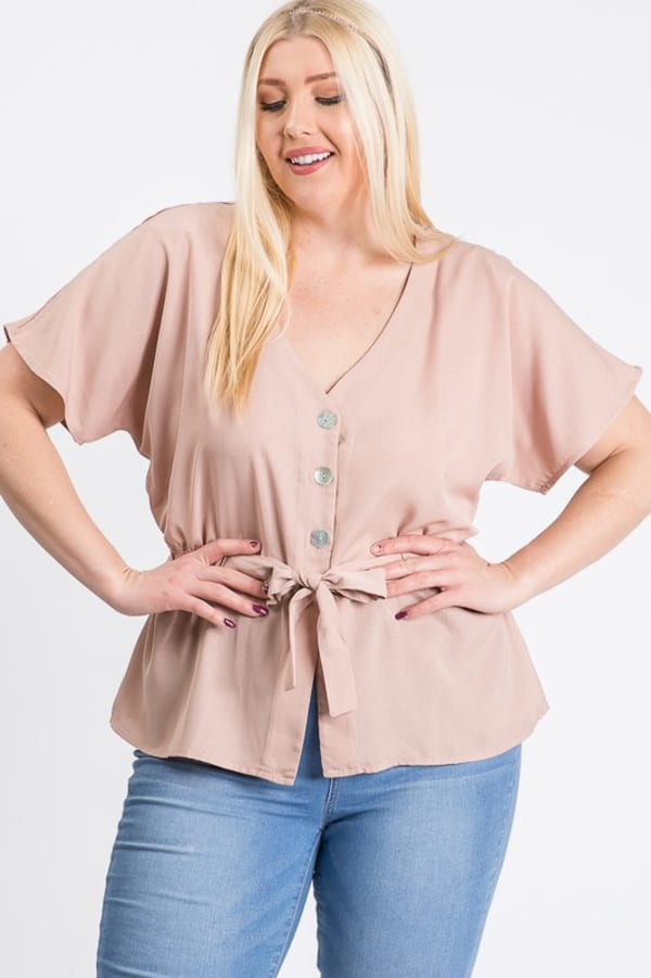Waist Band With Front Ribbon Top