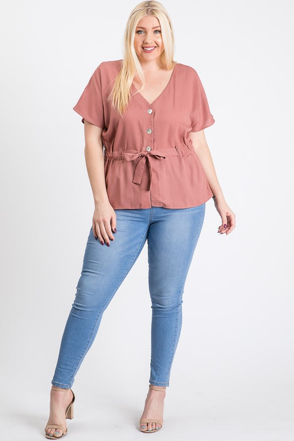 Waist Band With Front Ribbon Top - Mauve - Front