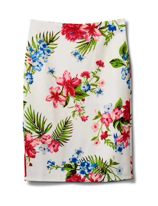 Floral Print Scuba Crepe Pull On Skirt -White cotton - Front