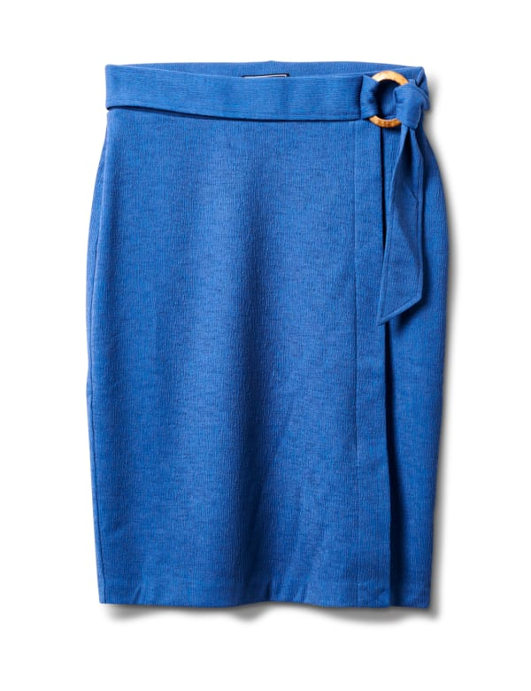 Faux Wrap Skirt with Buckle Trim - Indigo coast - Front