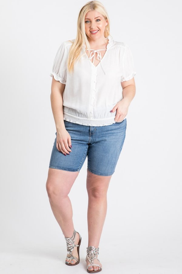 Frill Neck Smocking Top - White - Front