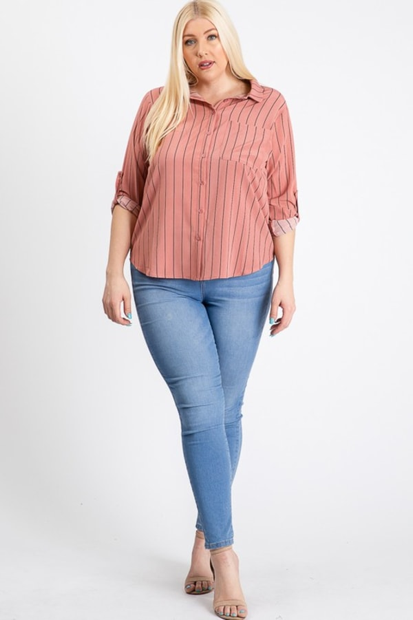 Multi-Use Stripped Top - Mauve - Front